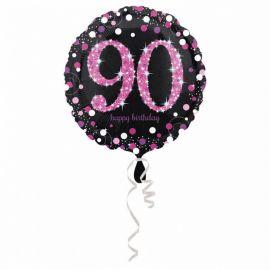 Globo Foil 90 Años Elegant Rosa 43 cm