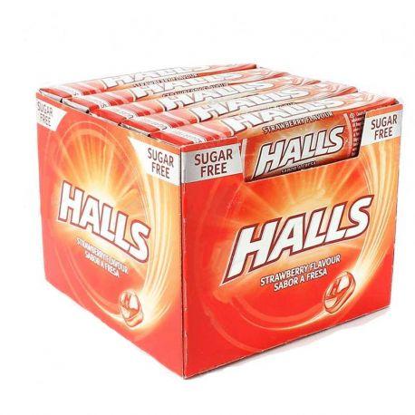 Caramelos Halls de Strawberry Sin Azúcar 20 paquetes