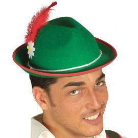 Sombrero de Tirolés con Pluma Roja