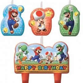 4 Velas Super Mario Happy Birthday
