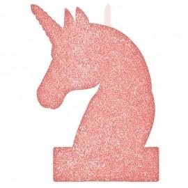 Vela Unicornio Rosa con Glitter 8 cm x 13 cm