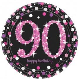 8 Platos 90 Años Elegant Rosa 23 cm