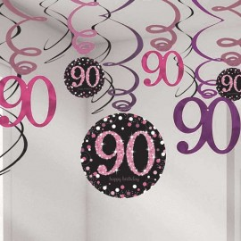 12 Colgantes 90 Años Elegant Rosa