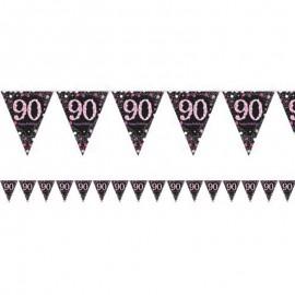 Banderín 90 Años Elegant Rosa
