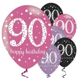 6 Globos Happy Birthday Elegant 90 Años Rosa 28 cm