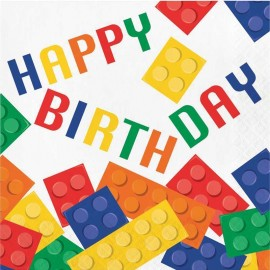 16 Servilletas Lego Happy Birthday