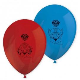 8 Globos Patrulla Canina de Látex Rojo y Azul