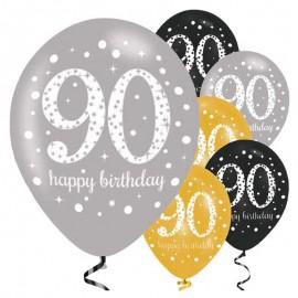 6 Globos Happy Birthday Elegant 90 Años Dorado 28 cm