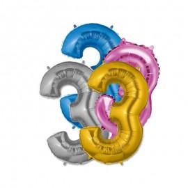 Globo Numero 3 Foil 35 cm