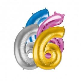 Globo Numero 6 Foil 35 cm