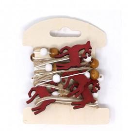 Guirnalda Ciervos Rojos Madera 200 Cms
