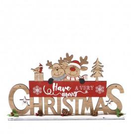 Letrero Mesa Madera Merry Christmas 27 X 16 Cms