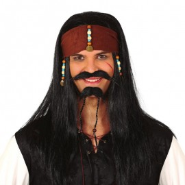 Peluca Pirata Con Pañuelo En Caja