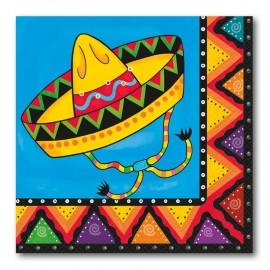20 Servilletas Mexicanas con Sombrero 33 cm