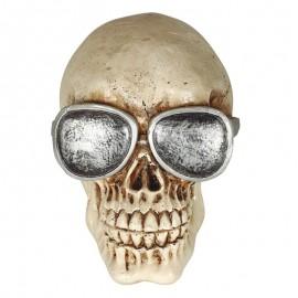 Calavera Con Gafas Resina 11 Cms