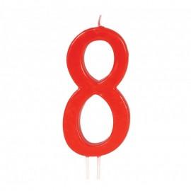 Vela Roja Nº 8 12 Cms