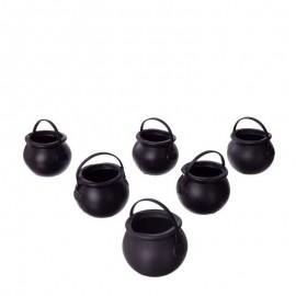 6 Mini Calderos Negros
