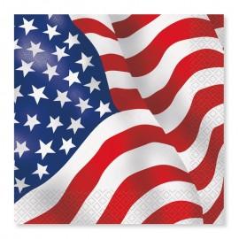16 Servilletas con Banderas Americana 33 cm