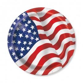 8 Platos con Bandera Americana 23 cm