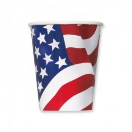 8 Vasos con Bandera Americana 355 ml