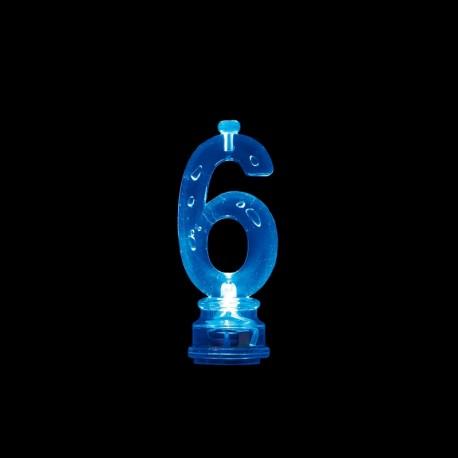 4 Velas y Número 6 con Luz Intermitente
