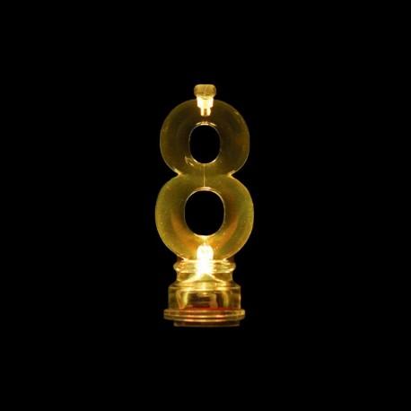 4 Velas y Número 8 con Luz Intermitente