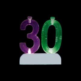 4 Velas con Número 30 con Luces Intermitente