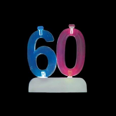 4 Velas con Número 60 Intermitente