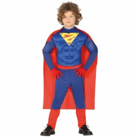 Disfraz SuperHeroe con Musculos y Capa para Niño