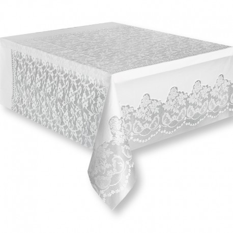 Mantel de pl stico con bordado 137 x 268 cm for Manteles de papel para fiestas