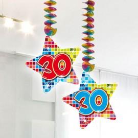 2 Colgantes 30 forma Estrella Multicolor