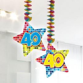 2 Colgantes 40 forma Estrella Multicolor