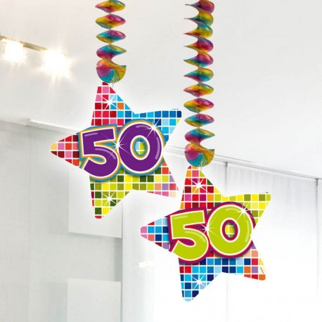2 Colgantes 50 forma Estrella Multicolor
