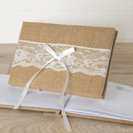 Libro de Firmas Yute y Puntilla 25 cm x16 cm