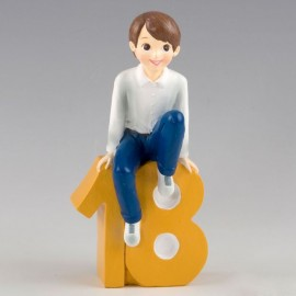 Figura para Tartas de 18 Cumpleaños Chico Sentado