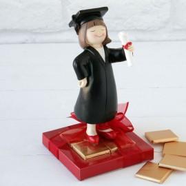 2 Figuras Graduación Chica 8 Chocolates