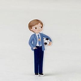 Figura Niño con Pelota 2D Adhesiva 5,5 cm (10 uds)
