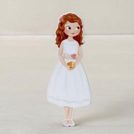 Figura Niña con Vestido 2D Adhesiva 11 cm (6 uds)
