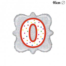Globo Número 0 Foil Cuadrado 46 cm
