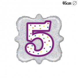 Globo Número 5 Foil Cuadrado 46 cm
