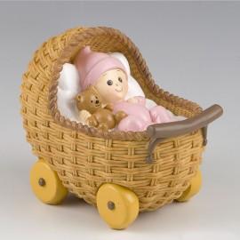 Figura para Pastel y Hucha con Cochecito y Bebé