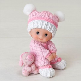 Figura Pastel Bebé Sentado con Peluche