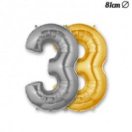 Globo Numero 3 Foil 86 cm