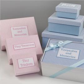 Pack 3 Cajas Tela Vichy con Caja y Lazo