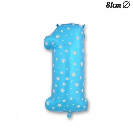 Globo Número 1 Foil Azul con Estrellas 81 cm
