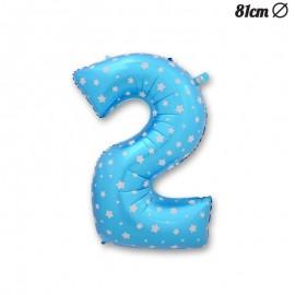 Globo Número 2 Foil Azul con Estrellas 81 cm