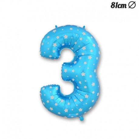 Globo Número 3 Foil Azul con Estrellas 81 cm
