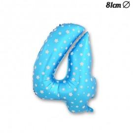 Globo Número 4 Foil Azul con Estrellas 81 cm