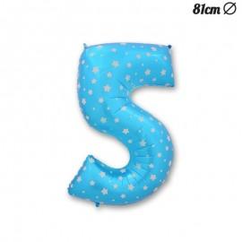 Globo Número 5 Foil Azul con Estrellas 81 cm