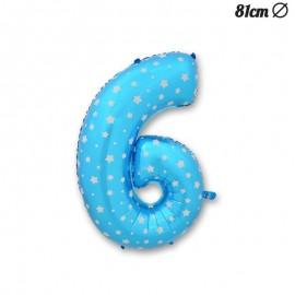 Globo Número 6 Foil Azul con Estrellas 81 cm
